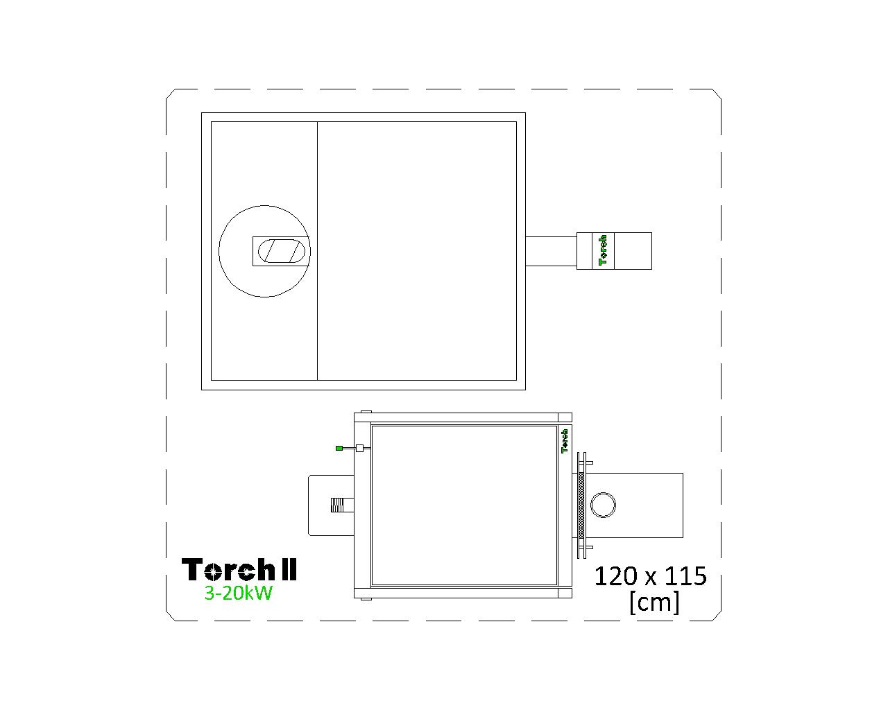 Отоплителна система на пелети Torch II 3 - 20kW с бункер 180kg - top