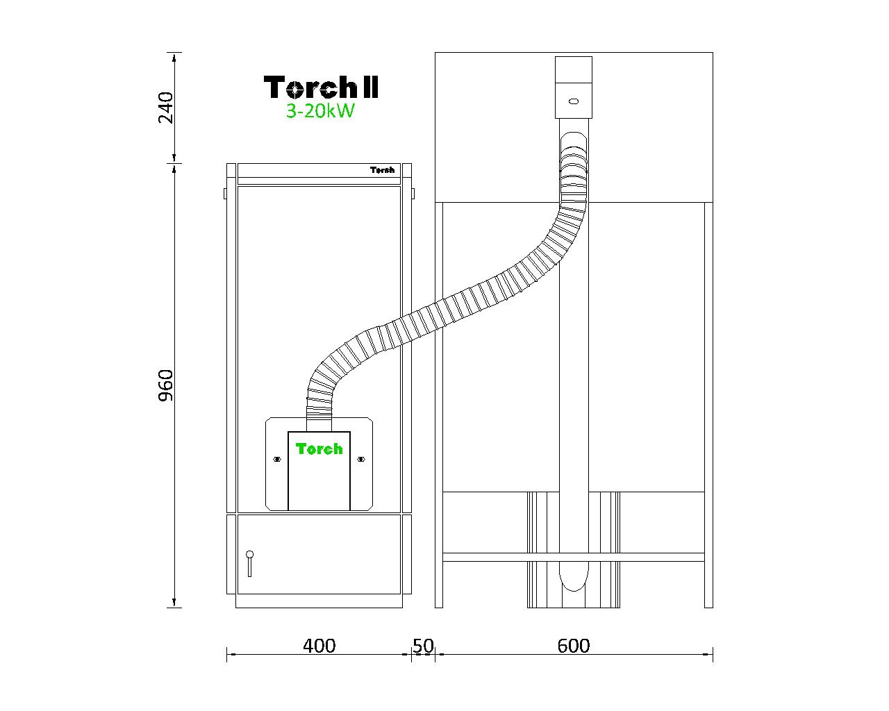 Отоплителна система на пелети Torch II 3 - 20kW с бункер 180kg