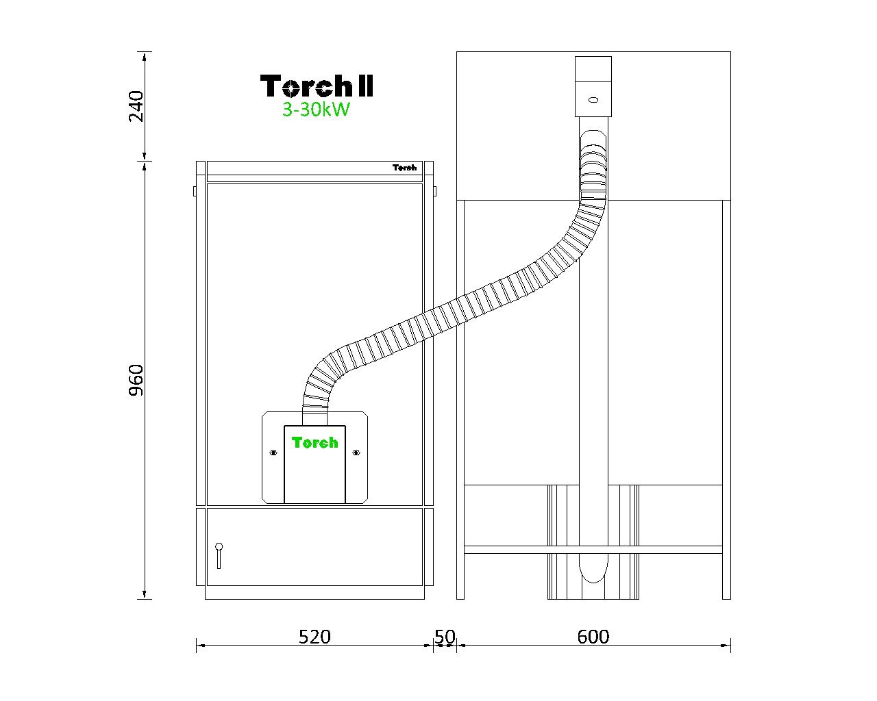 Отоплителна система на пелети Torch II 3 - 30kW с бункер 180kg