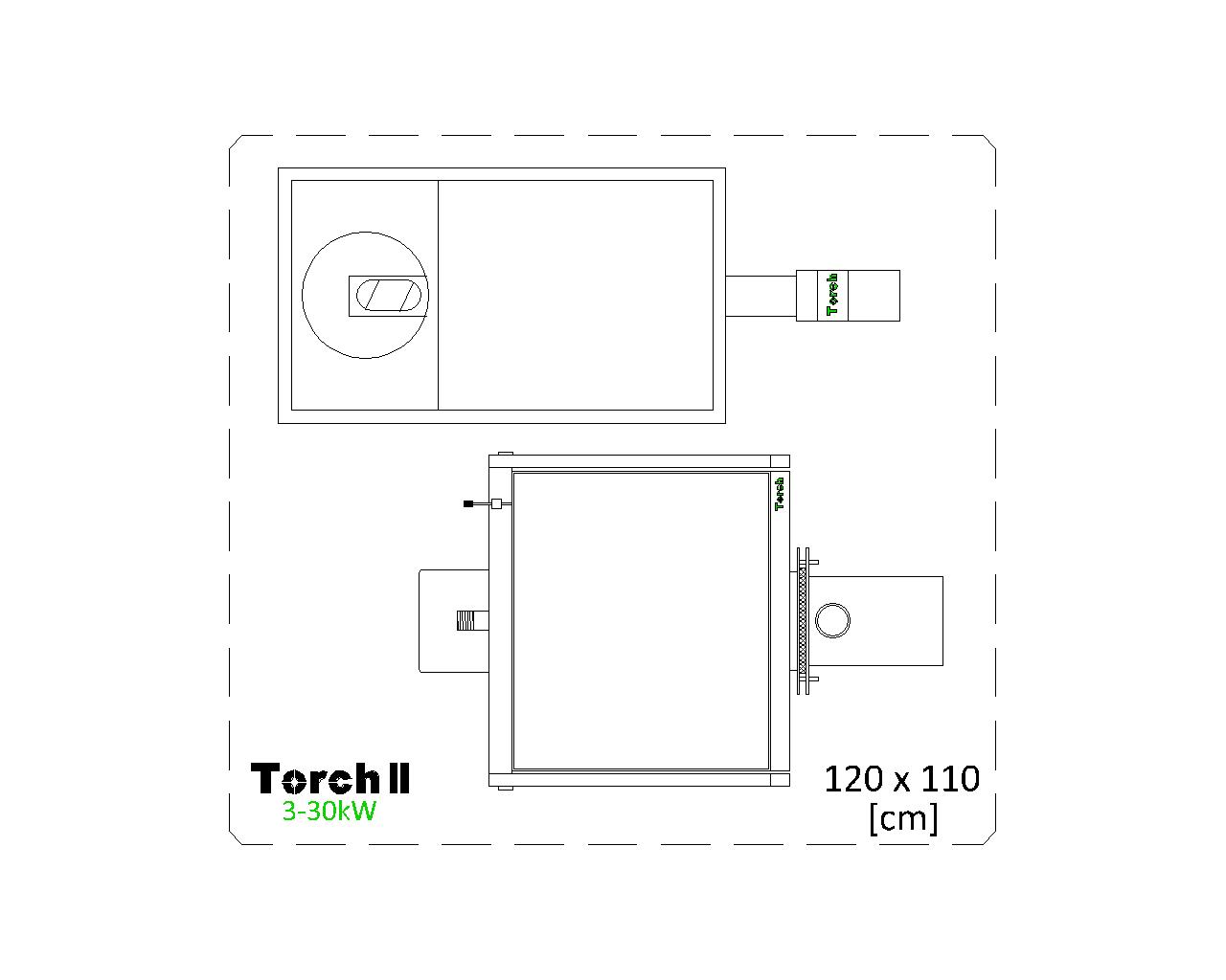Отоплителна система на пелети Torch II 3 - 30kW с бункер 120kg - top